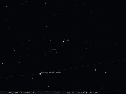 Imagen tomada de Stellarium